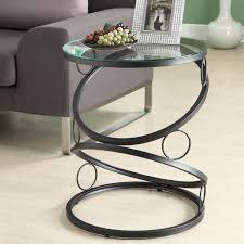 glass side tables for living room modern round black metal end