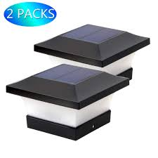 4x4 Solar Deck Post Lights Solar Post Lights Outdoor Waterproof Led Post Cap Lights For 4x4 Wooden Posts Square Black Landscape Post Lamp For Deck Patio Fence White Light