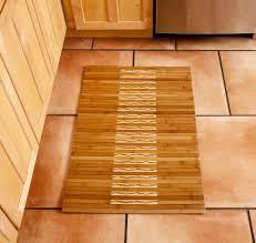 Chic Kitchen Natural Wood Flooring With Amusing Natural Wooden Bamboo Rug  Over Carpet Bath Mat Matched With Natural Wood Cabinet Kitchen Island Design