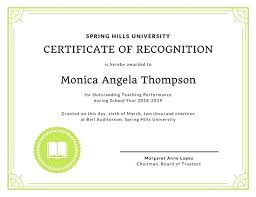 Performance Certificate Sample Green Border Teacher Recognition Certificate Sample Of For