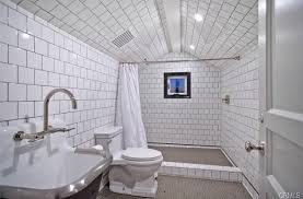 floor to ceiling subway tile bathroom. traditional 3 4 bathroom with attic ceiling specialty door whisper white subway tile floor to