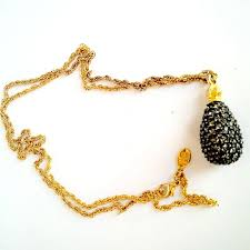 joan rivers signed rare egg pendant chain necklace black caviar crystals