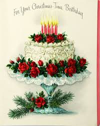 Christmas Birthday Cards 1950s Hallmark Christmas Time Birthday Cake Candles Rose