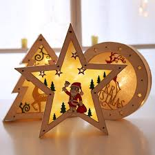 2019 decorations illuminate wooden five pointed star ornaments hotel ping malls window decorations lighting tree ornaments