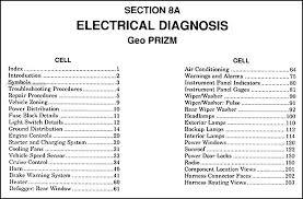 geo prizm wiring diagram image wiring 1989 1990 geo prizm electrical diagnosis manual original on 1996 geo prizm wiring diagram