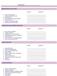 Standard Office Equipment List Office Supply Request Small Business Free Forms