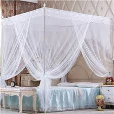 Bed Canopy Drapes, Four Poster Bed Canopy & Mosquito Net for Bed ...