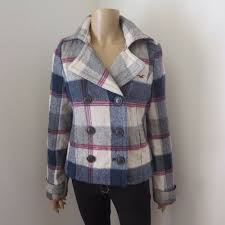 details about hollister womens vintage plaid wool peacoat jacket size small coat