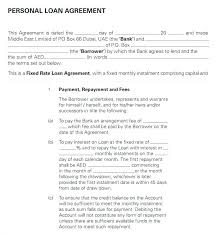 Personal Loan Agreements Unique Investment Loan Agreement Template Bank Letter Format In Copy Free