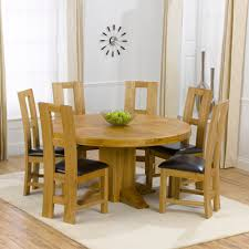 trina solid oak round dining table with 6 lewis chairs