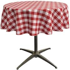 la linen poly checd round tablecloth 51 inch red white