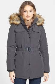 image of michael michael kors faux fur trim belted puffer jacket