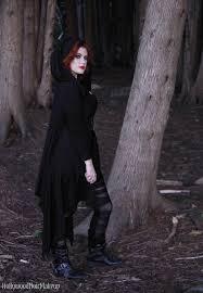 phantomlovely black hooded cape jacket as modelled by hollywood noir makeup