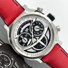 L Jr Chronograph Retrograde Day And Date Multi Layer Black And White Dial With Red Strap Swiss Made S1503 S12 Men Brand New Catawiki