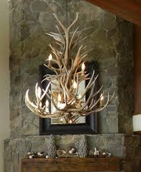 cool elk mule deer antler chandelier with faux stone for living room ideas
