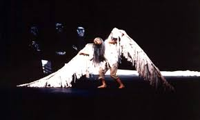 portfolio theatre page  a very old man enormous wings adapted and directed by andrew design by sandy spieler in the heart of the beast theatre 1997 photo by rebecca