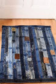 unique denim rug made from repurposed jeans waistband full tutorial with no sewing involved