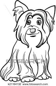black and white cartoon ilration of cute yorkshire terrier dog or york for coloring book