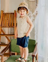 Áo bé gái/ bé trai Hàn Quốc Bebezoo _ Coconut sọc Cam – Little Nem