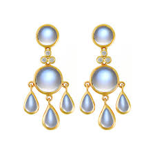 royal blue moonstone fringe chandelier earrings in 18k yellow gold with round cut diamond accents ten round and pear shaped cabochon moonstones weighing