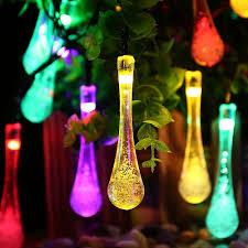 solar outdoor string lights 20 led icicle globe patio light for garden christmas
