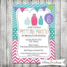 pottery party invite girls invite birthday invite 5x7 jpg
