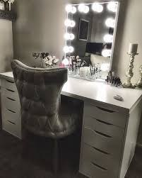 black vanity table with lights. this elegant white and silver #impressionsvanityglowxl #slaaaystation from @reyna_alissa is definitely fit for · vanity tablesvanity table with lightsvanity black lights s