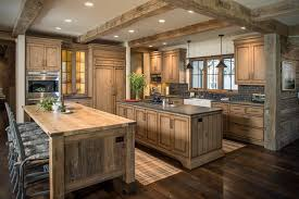 Dark Rustic Hickory Cabinets With Wood Floors Hickory Wood Cabinets A98