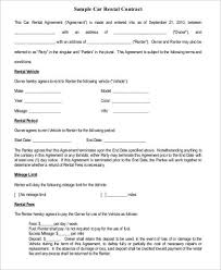 Car Rental Agreement. Sample Car Rental Agreement Form Rental ...