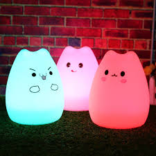 Cat Shaped Night Light 7 Color Changeable Silicone Led Lamp Kawaii Cat Shaped Usb