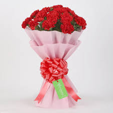 Paper Carnation Flower 20 Red Carnations Bouquet In Pink Paper Gift Buy Online Carnations