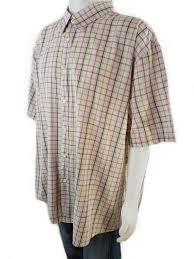 Details About Ben Sherman Size 4xl Short Sleeve Shirt Checkered Pink Cotton Beige