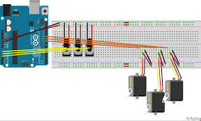 controlling 3 servo motors 3 potentiometers and an arduino adding power