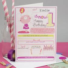 1st birthday personalised card for s