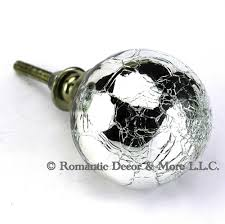 2 Pc Vintage Crackle Mercury Glass Kitchen Cabinet Knobs Glass Wall