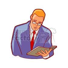 cartoon male teacher holding a book reading