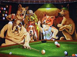 vintage dogs playing pool and wall tapestry 40 x 55 excellent condition