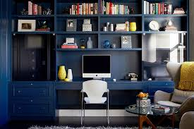 view in gallery custom built in library wall for the modern home office design danielle colding blue home office