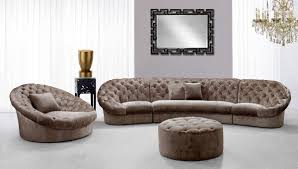 luxury lounge chairs. Luxury Brown Leather Sectional Sofa With Lounge Chairs And Ottoman Table In Living Room Gray Wall Carpet Tiles Plus White Window Curtains Ideas