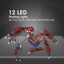 Rc Plane Strobe Lights Us 7 73 30 Off 12 Ultra Led Flashing Bright Light Strobe Lamps Kit System For 1 10 1 8 Rc Drift Hsp Tamiya Cc01 4wd Axial Scx10 Rc Car Truck In