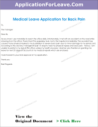 Leave Application For Back Pain