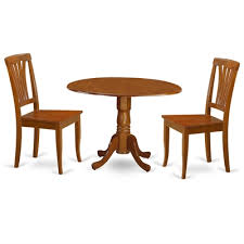 east west furniture dlav dublin round drop leaf table dining set with wood seat chairs