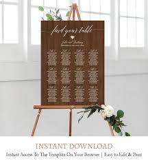 Editable Wood Wedding Table Seating Chart Printable C8