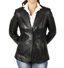 sl11454 hip length and shaped las black leather blazer