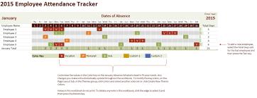2015 Employee Attendance Tracking Calendar