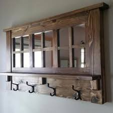 Coat Rack With Mirror And Shelf Etsy Entryway Mirror with Four Coat Hooks Rustic Reclaimed Wood 29