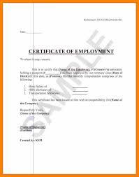 Certificate Of Employment For Travel Purposes Sample Fr Elegant