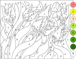 Spring Coloring Printables Color By Number Flowers Spring Coloring