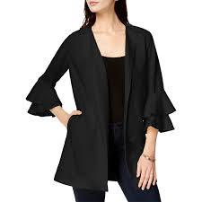 kensie womens bell sleeves long jacket 0