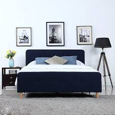 Mid Century Modern Linen Fabric Low Profile Bed Frame (Queen, Blue ...